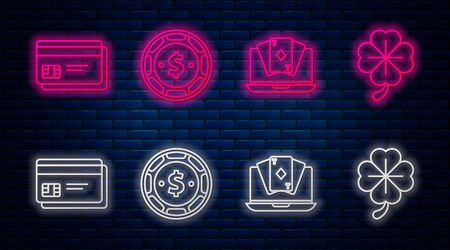 Set line Casino chip with dollar, Online poker table game, Credit card and Four leaf clover. Glowing neon icon on brick wall. Vector