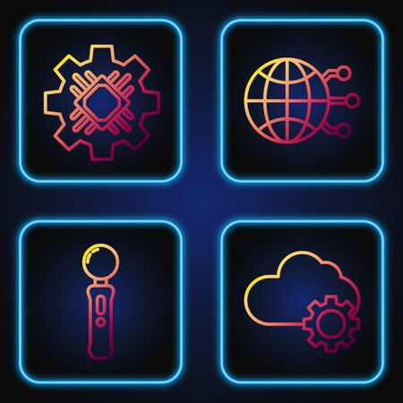 Set line Cloud technology data transfer and storage, Gamepad, Processor and Global technology or social network. Gradient color icons. Vector Ilustrace