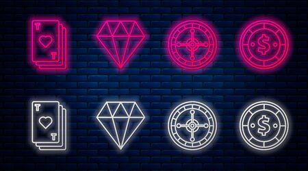 Set line Diamond, Casino roulette wheel, Playing card with heart and Casino chip with dollar. Glowing neon icon on brick wall. Vector