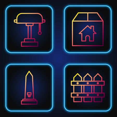 Set line Garden fence wooden, Washington monument, Table lamp and Cardboard box with house. Gradient color icons. Vector Ilustrace