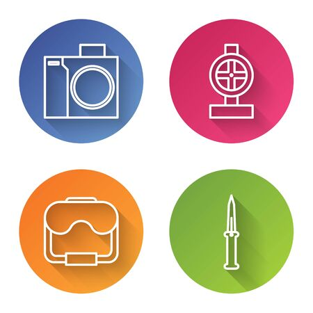 Set line Photo camera for diver, Industry metallic pipes and valve, Diving mask and Army knife. Color circle button. Vector