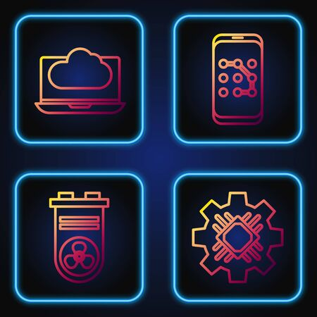 Set line Processor, Video graphic card, Cloud technology data transfer and storage and Mobile and graphic password protection. Gradient color icons. Vector Ilustrace