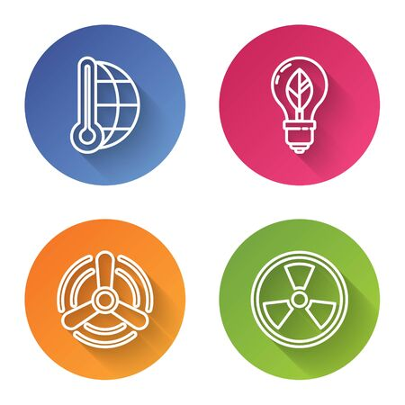 Set line Meteorology thermometer measuring, Light bulb with leaf, Wind turbine and Radioactive. Color circle button. Vector 일러스트