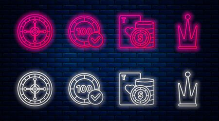 Set line Casino chips, Casino chip and playing cards, Casino roulette wheel and Crown. Glowing neon icon on brick wall. Vector Illustration
