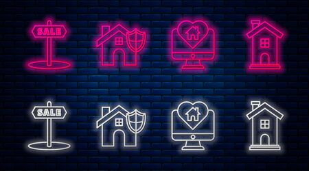 Set line House with shield, Monitor with house in heart shape, Hanging sign with text Sale and Home symbol. Glowing neon icon on brick wall. Vector Ilustrace