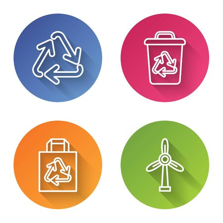 Set line Recycle symbol, Recycle bin with recycle symbol, Paper shopping bag with recycle and Wind turbine. Color circle button. Vector