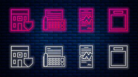 Set line Fax machine, Torn contract, Medical hospital building with shield and Empty form. Glowing neon icon on brick wall. Vector Ilustrace