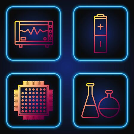 Set line Test tube and flask chemical laboratory, Processor, Computer monitor with cardiogram and Battery. Gradient color icons. Vector