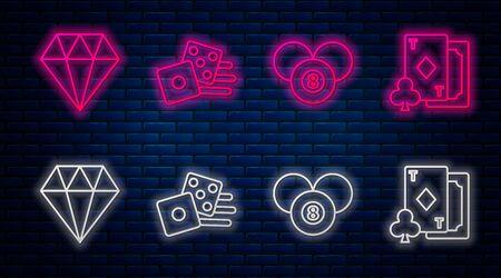 Set line Game dice, Billiard pool snooker 8 ball, Diamond and Playing card with diamonds. Glowing neon icon on brick wall. Vector