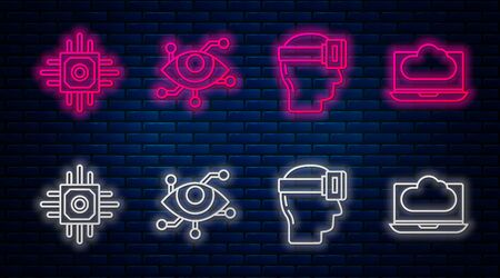 Set line Virtual reality, Virtual reality glasses, Processor and Cloud technology data transfer and storage. Glowing neon icon on brick wall. Vector
