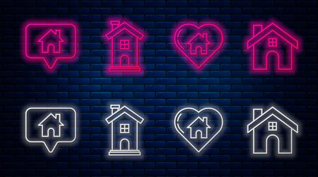Set line Home symbol, House with heart shape, Map pointer with house and House. Glowing neon icon on brick wall. Vector Ilustrace