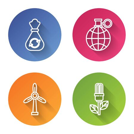 Set line Garbage bag with recycle, Planet earth and a recycling, Wind turbine and Light bulb with leaf. Color circle button. Vector