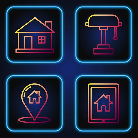 Set line Tablet and smart home, Map pointer with house, House and Table lamp. Gradient color icons. Vector