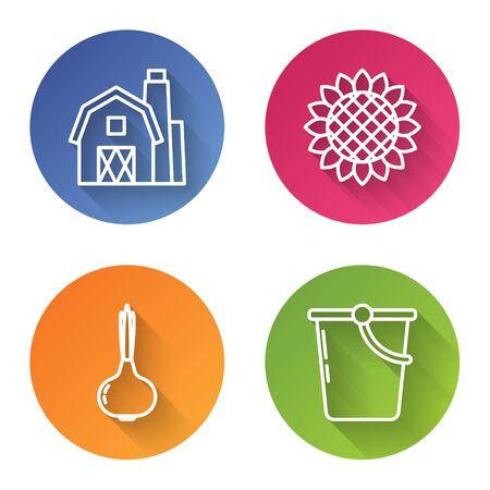 Set line Farm House concept, Sunflower, Onion and Bucket. Color circle button. Vector 일러스트
