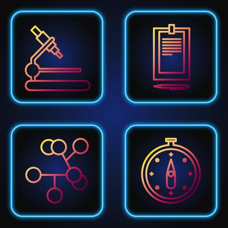 Set line Compass, Molecule, Microscope and Clipboard with document. Gradient color icons. Vector