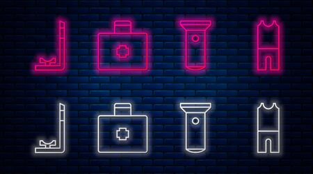 Set line First aid kit, Flashlight, Snorkel and Wetsuit for scuba diving. Glowing neon icon on brick wall. Vector