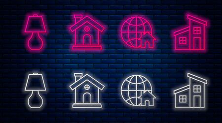 Set line House, Globe with house symbol, Table lamp and House. Glowing neon icon on brick wall. Vector