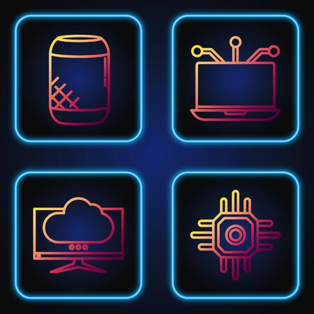 Set line Processor, Computer monitor screen, Voice assistant and Laptop. Gradient color icons. Vector Ilustrace