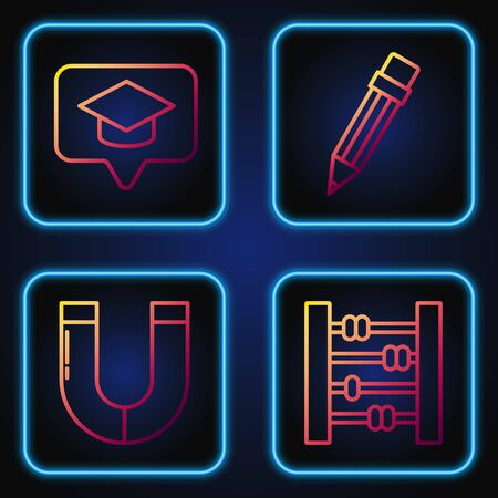 Set line Abacus, Magnet, Graduation cap in speech bubble and Pencil with eraser. Gradient color icons. Vector Ilustracja