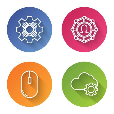 Set line Processor, Project team base, Computer mouse and Cloud technology data transfer and storage. Color circle button. Vector