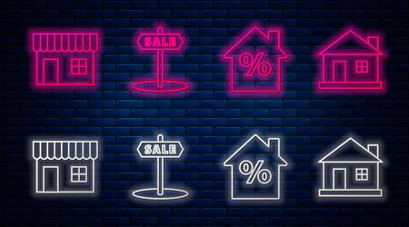 Set line Hanging sign with text Sale, House with percant discount tag, Shopping building or market store and House. Glowing neon icon on brick wall. Vector