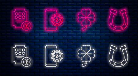 Set line Online poker table game, Four leaf clover, Online slot machine and Horseshoe. Glowing neon icon on brick wall. Vector