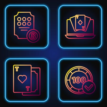 Set line Casino chips, Playing card with heart, Online slot machine and Online poker table game. Gradient color icons. Vector Çizim