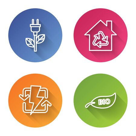 Set line Electric saving plug in leaf, Eco House with recycling symbol, Recharging and Leaf Bio symbol. Color circle button. Vector Archivio Fotografico - 138582247
