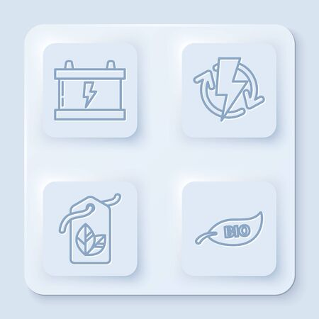 Set line Car battery, Recharging, Tag with leaf symbol and Leaf Bio symbol. White square button. Vector Ilustracja