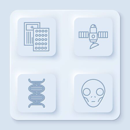 Set line Pills in blister pack, Satellite, DNA symbol and Extraterrestrial alien face. White square button. Vector Illustration