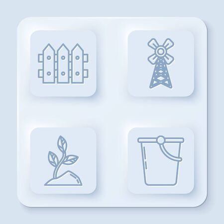 Set line Garden fence wooden, Windmill, Sprout and Bucket. White square button. Vector