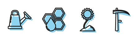 Set line Sunflower, Watering can, Honeycomb and Scythe icon. Vector Ilustração