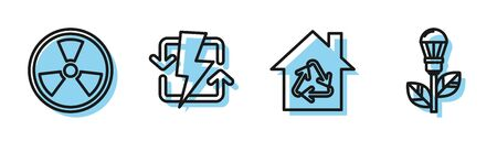 Set line Eco House with recycling symbol, Radioactive, Recharging and Light bulb with leaf icon. Vector
