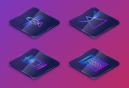 Set Isometric line Satellite, Clipboard with document, Light rays in prism and Calculator. Blue square button. Vector