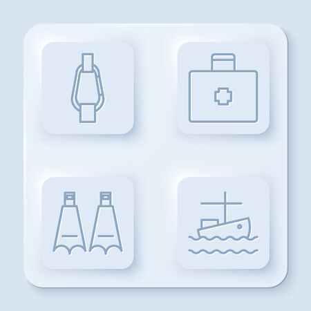 Set line Carabiner, First aid kit, Rubber flippers for swimming and Fishing boat on water. White square button. Vector