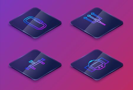 Set Isometric line Carabiner, Manifold, Neptune Trident and Diving watch. Blue square button. Vector