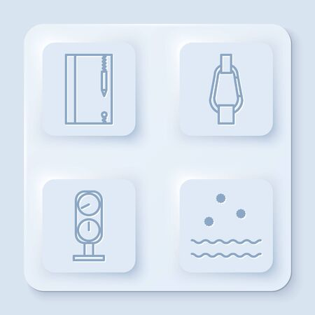Set line Underwater note book and pencil, Carabiner, Gauge scale and Cold and waves. White square button. Vector