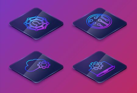 Set Isometric line Project team base, Cloud technology data transfer and storage, Processor and Laptop and gear. Blue square button. Vector