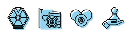 Set line Billiard pool snooker 8 ball, Lucky wheel, Casino chip and playing cards and Hand holding money bag icon. Vector