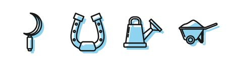 Set line Watering can, Sickle, Horseshoe and Wheelbarrow with dirt icon. Vector