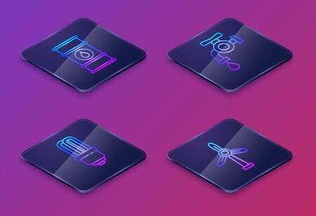 Set Isometric line Oil barrel line, LED light bulb, Water tap and Wind turbine. Blue square button. Vector