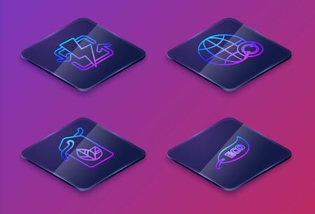 Set Isometric line Recharging, Tag with leaf symbol, Planet earth and a recycling and Leaf Eco symbol. Blue square button. Vector
