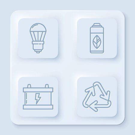 Set line LED light bulb, Recycling plastic bottle, Car battery and Recycle symbol. White square button. Vector