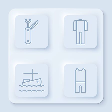 Set line Swiss army knife, Wetsuit for scuba diving, Fishing boat on water and Wetsuit for scuba diving. White square button. Vector Stock Illustratie
