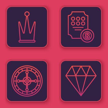 Set line Crown, Casino roulette wheel, Online slot machine and Diamond. Blue square button. Vector