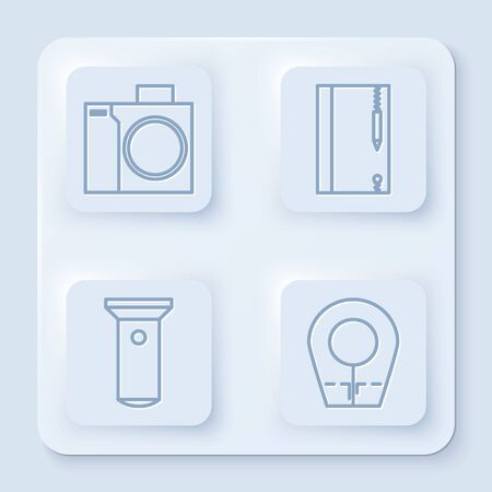 Set line Photo camera for diver, Underwater note book and pencil, Flashlight and Diving hood. White square button. Vector