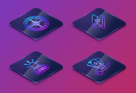 Set Isometric line Casino roulette wheel, Casino losing, Lottery ticket and Hand holding deck of playing cards. Blue square button. Vector