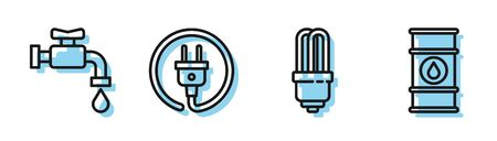 Set line LED light bulb, Water tap, Electric plug and Oil barrel line icon. Vector Ilustracja