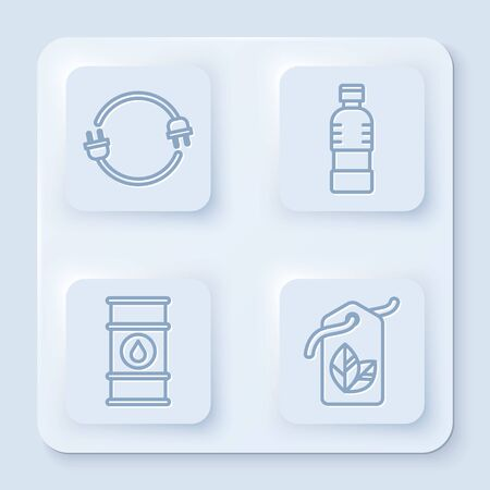 Set line Electric plug, Bottle of water, Oil barrel line and Tag with leaf symbol. White square button. Vector