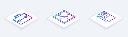 Set Isometric line Briefcase, Clock and Book. White square button. Vector